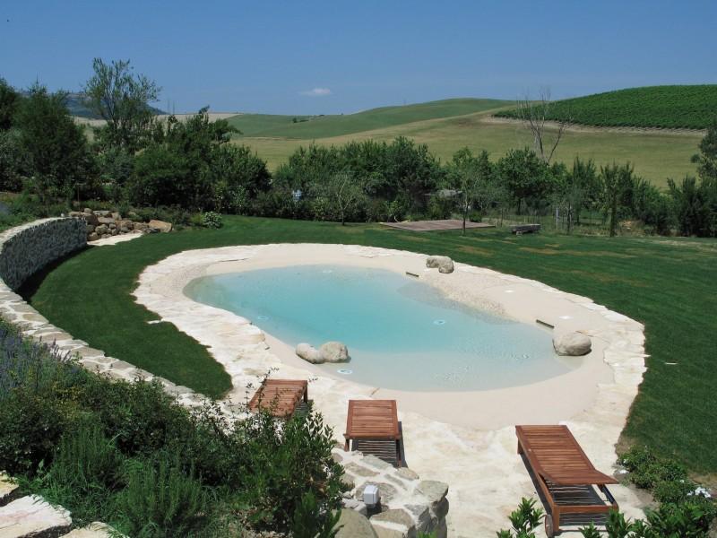 Vista dall'alto piscina Marmo Botticino